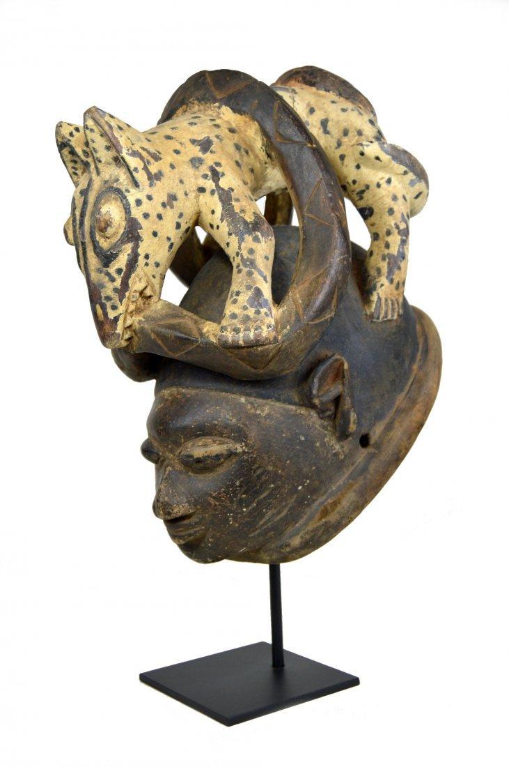 Yoruba Gelede mask with Canine & Serpent Ex Maurer Coll