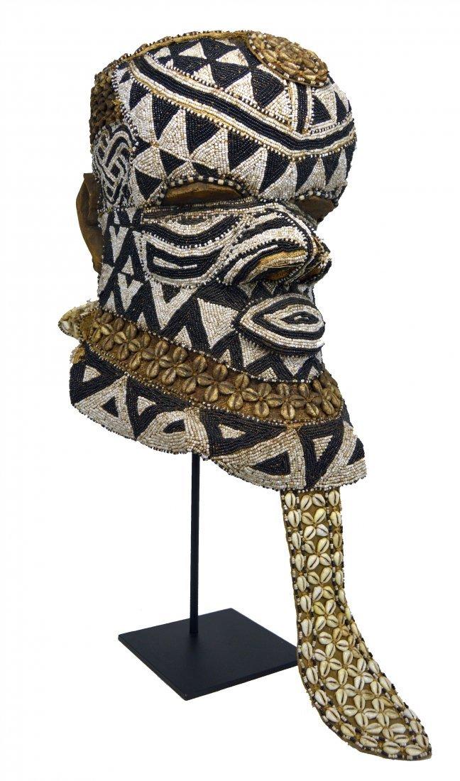 A Very Fine Kuba Bwoom Beaded helmet Mask, African Art