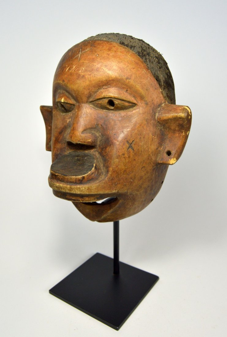 Old Makonde Face mask with Lip Plug and Human Hair