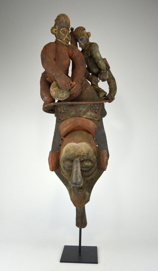 A Fascinating Yaka Initiation Mask with Musician on top