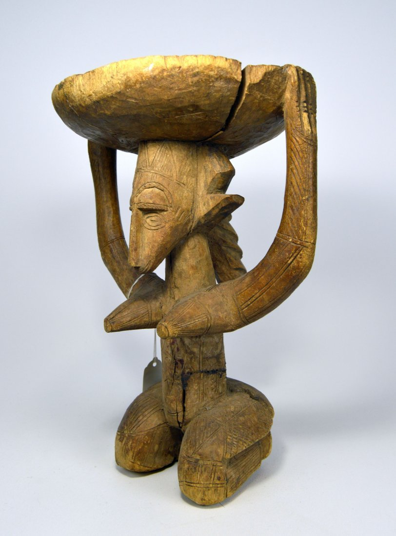 Old Bamana Stool with Ancestor & Incised designs