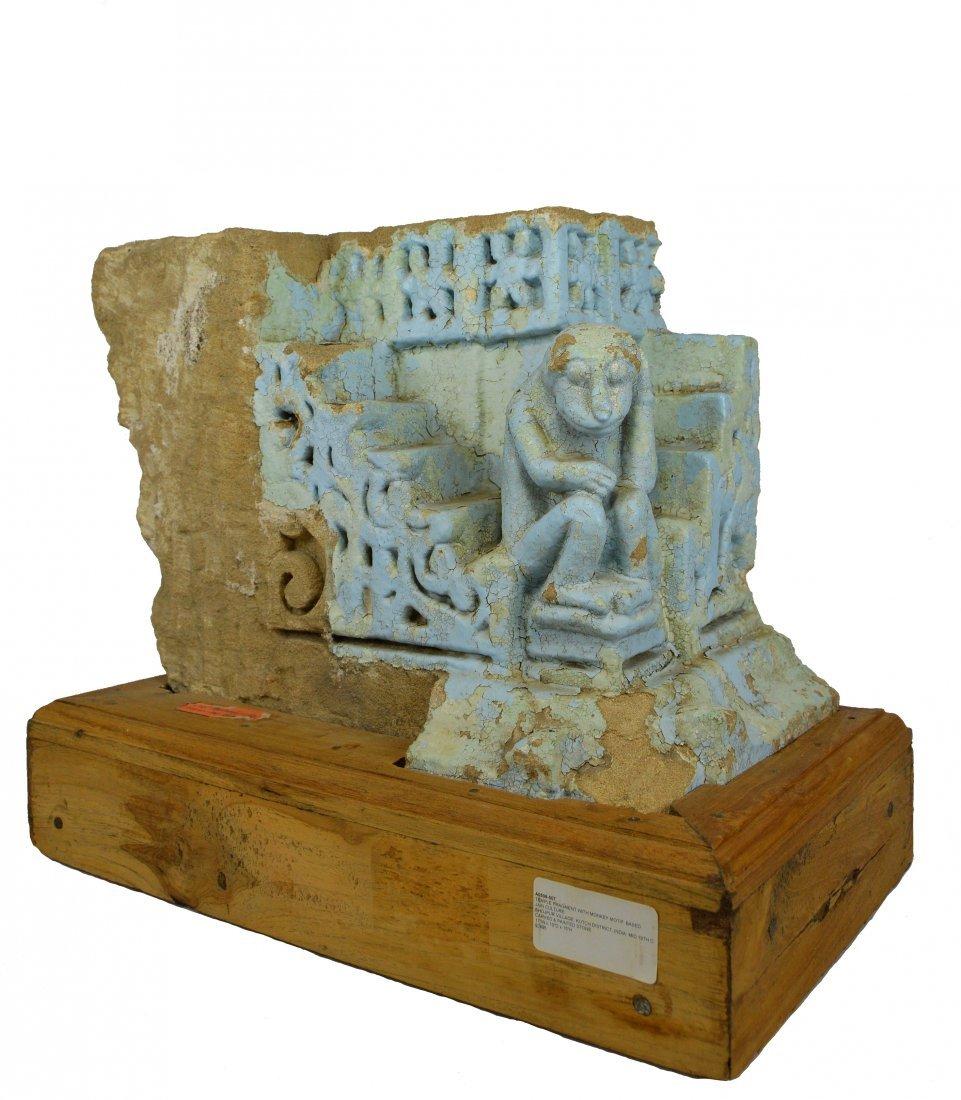 Mid 19th Century Jain Temple Fragment with Blue Monkey