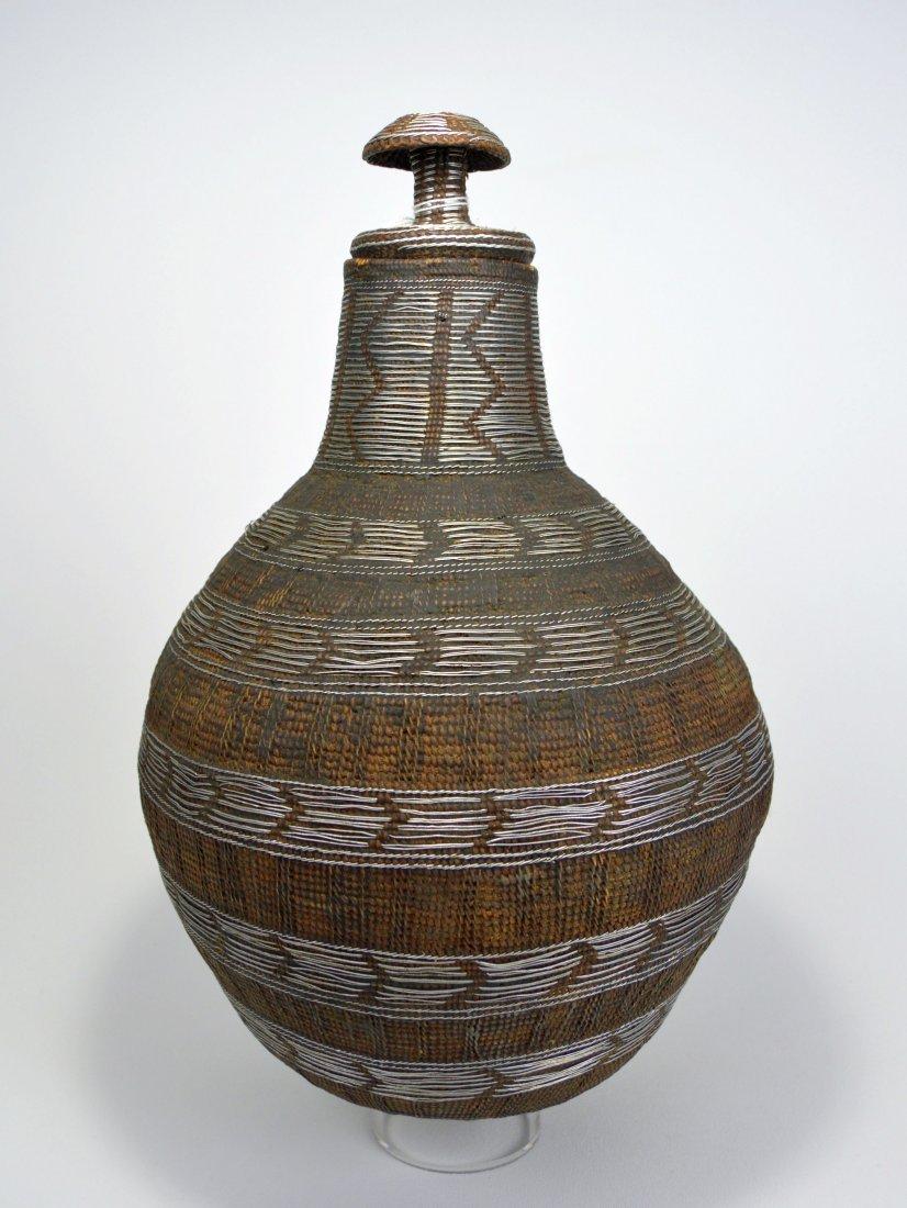 Fine Ethiopian Basket with ornate wire design & Lid