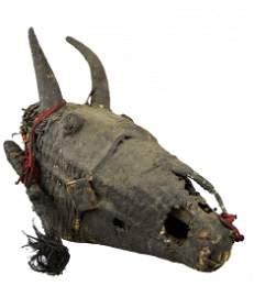A Rare Igbo Izzi Horse Skull Reliquary Shrine Object