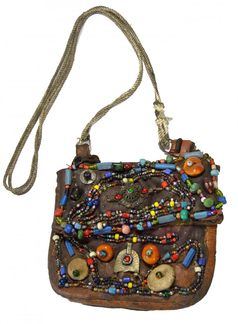 Vintage Berbers Men's Pouch embellished Stones & Beads