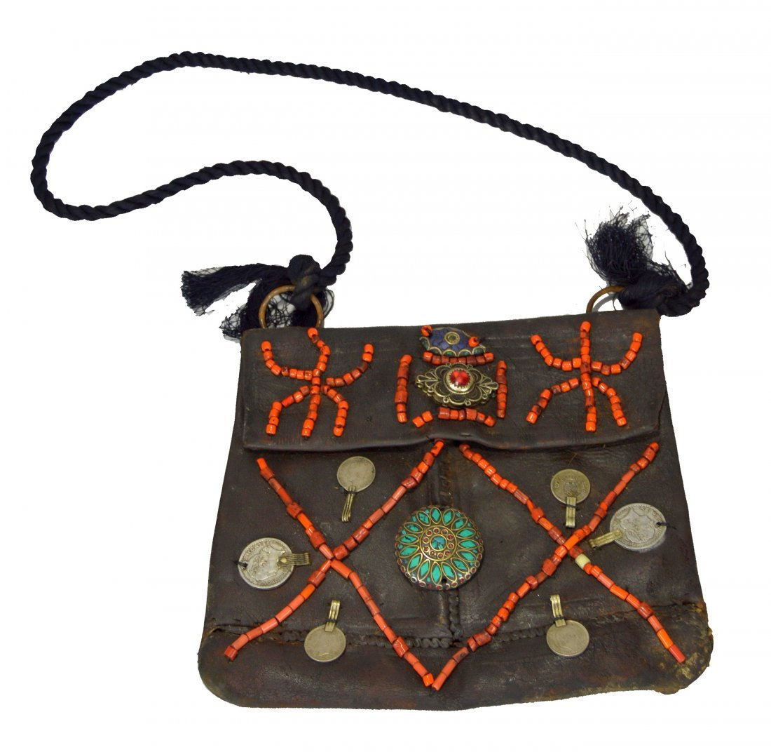 Antique Berbers Men's Leather Bag with beaded designs