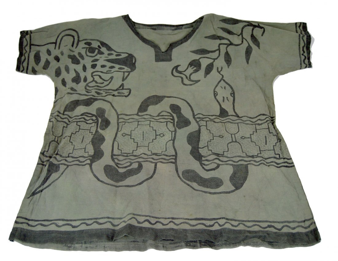 Shipibo Indian Ceremonial Shirt with Ayahuasca Designs
