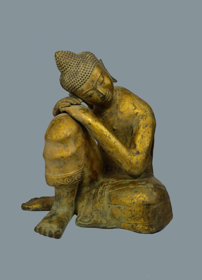 Sweet & Serene Large Bronze Resting Buddha Sculpture