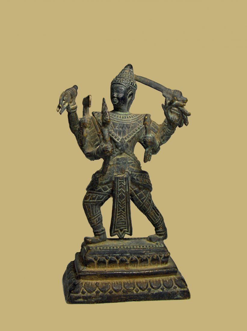 Old Bronze Shiva with Multiple Arms & Weapons Cambodia