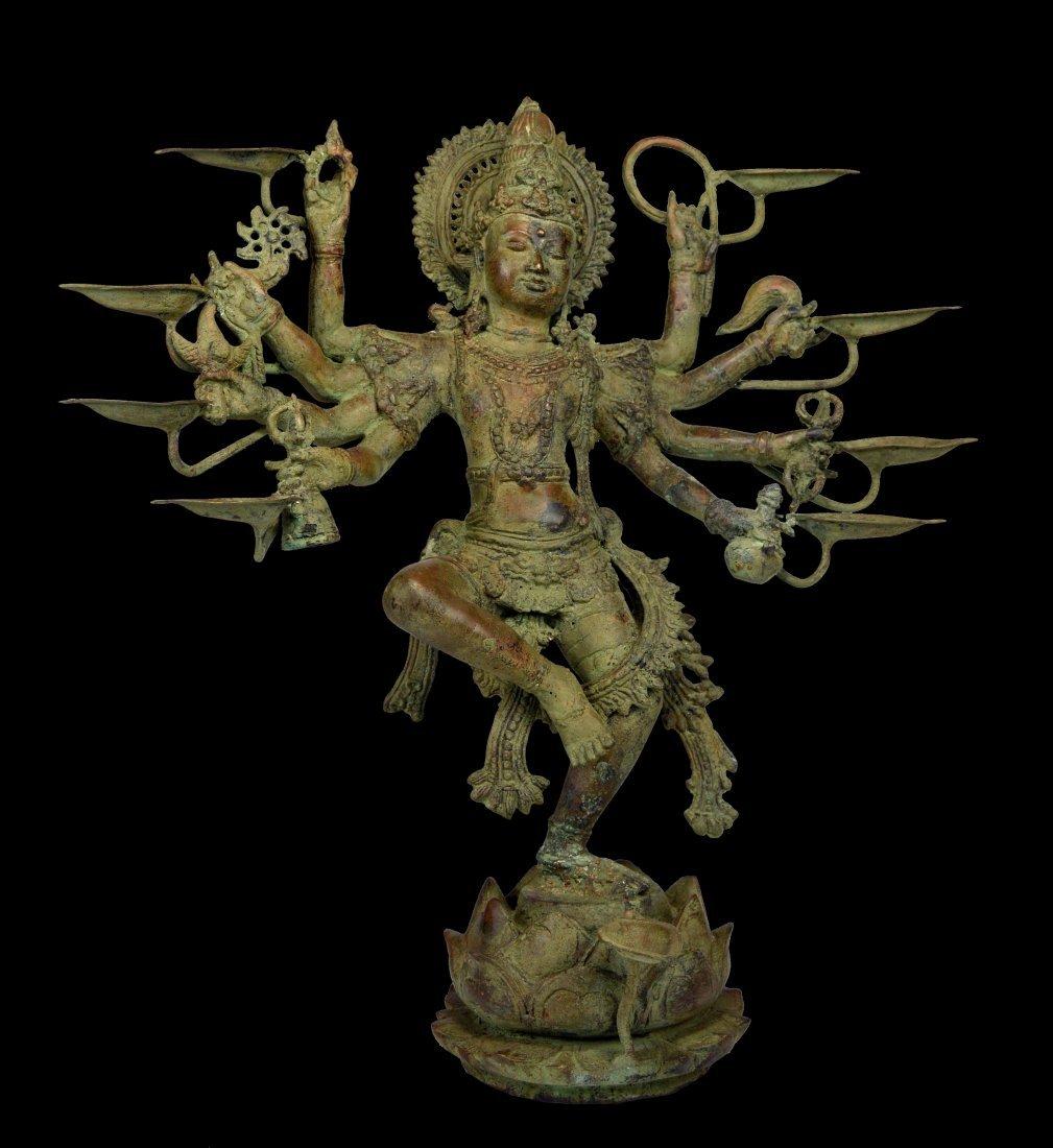 Huge Bronze Vishnu Hindu Sculpture with 8 Arms