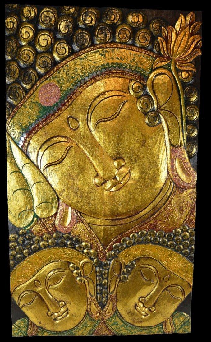 Huge Hand Carved Golden Buddha Panel, Serene Buddhist