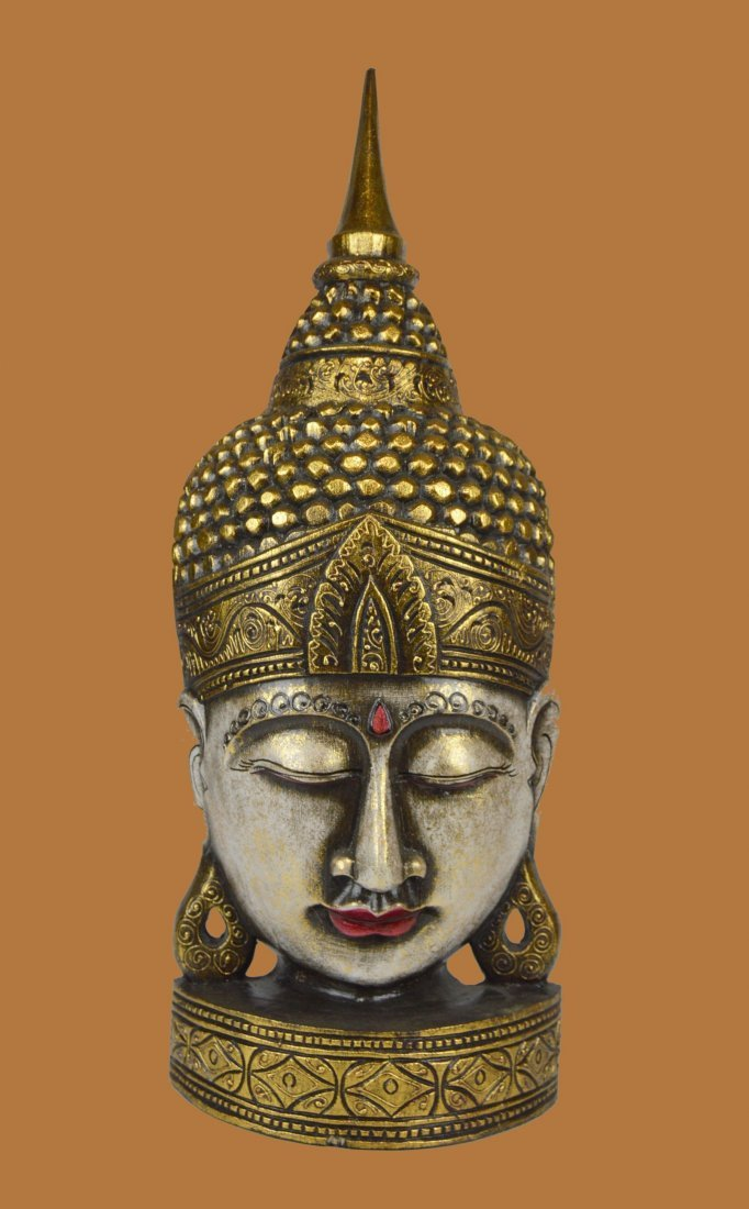 A Tall Finely Carved Wooden Buddha Head