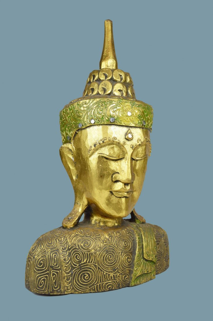 3 Dimensional Carved Wooden Buddha Head