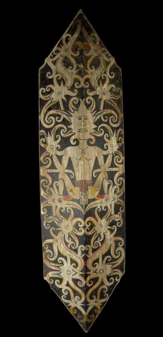 Fine Dayak Dance Shield with Ancestor & Hornbill motifs