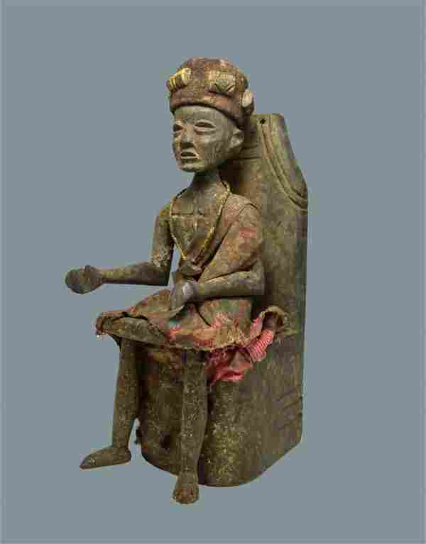 Old Akan Ashanti Effigy of African Chieftain on Throne