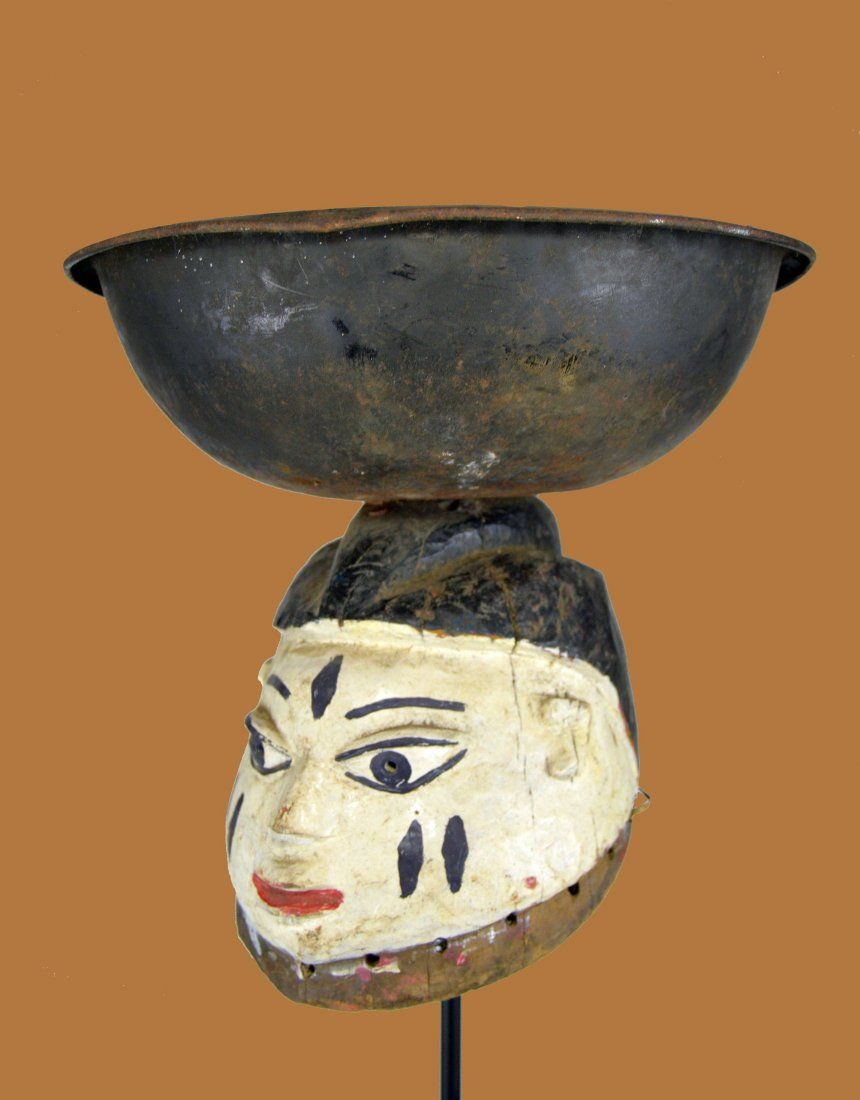 Charming Old Yoruba Gelede Mask with Metal Bowl on top