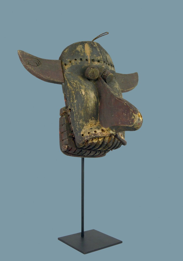Old Dayak Mask with articulated Jaw, Indonesian Tribal