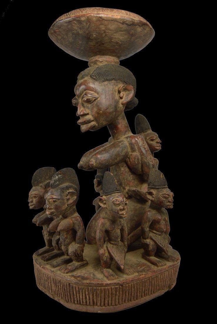 Fantastic Yoruba Ceremonial Bowl , Mother & Children