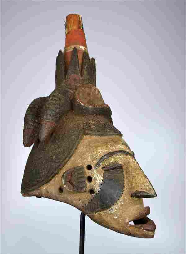 Large Tall Ibo Dance mask on Custom display stand