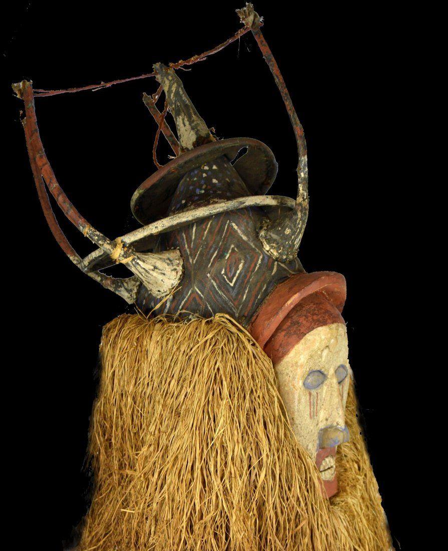 Tall Yaka Initiation Mask on custom stand