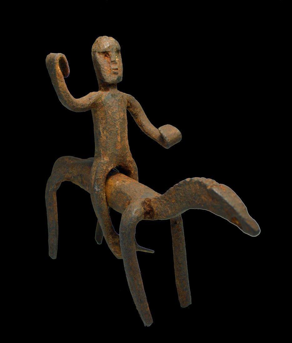 Old Dogon Blacksmith Forged Iron Horse  Rider sculpture