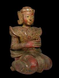 19th Century Mandalay Burmese Buddhist Monk sculpture
