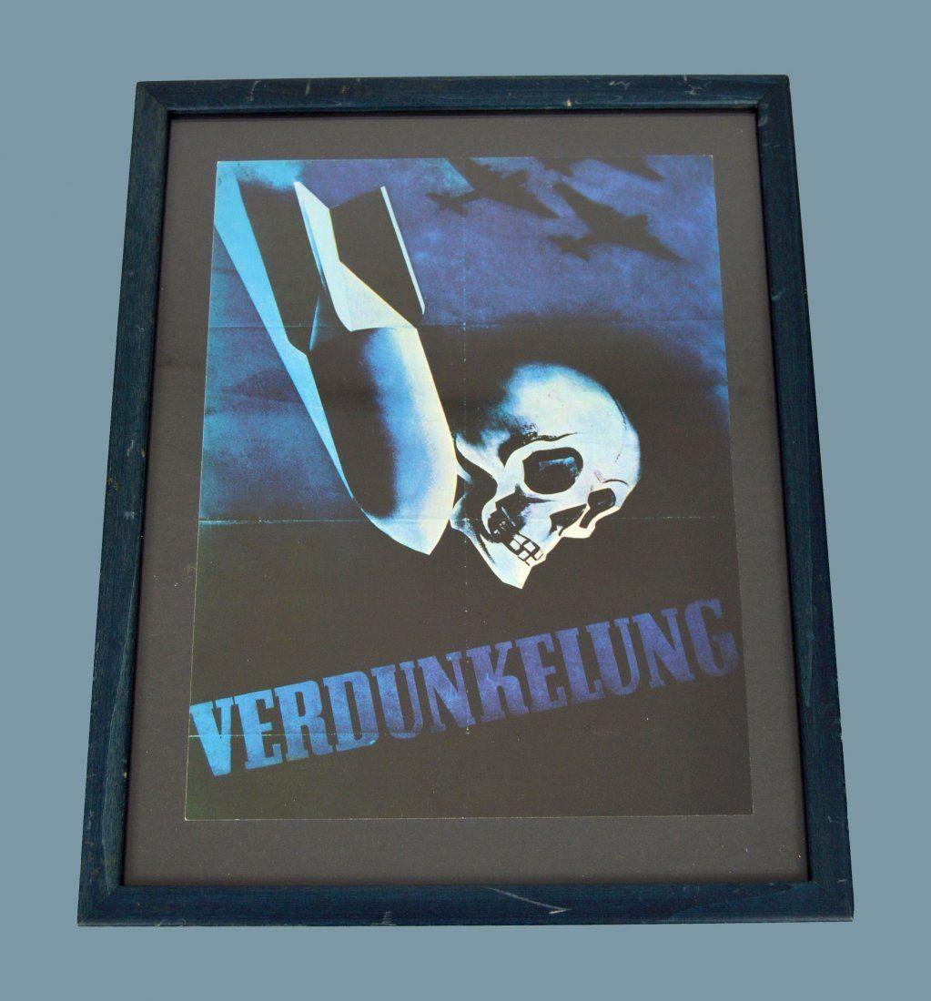 "WWII German Propaganda Poster ""Darkening"" with Skull"