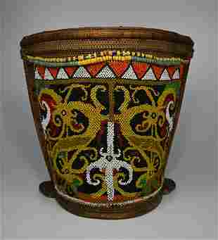 Antique Dayak Baby carrier basket with beaded design