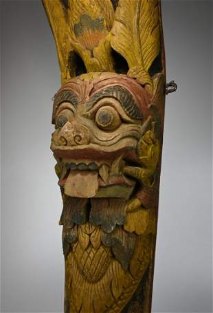 Large Antique Demon Face Gamelan Wooden Post from Bali