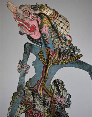 Early 20th Century Blue Demon Shadow Puppet from Java