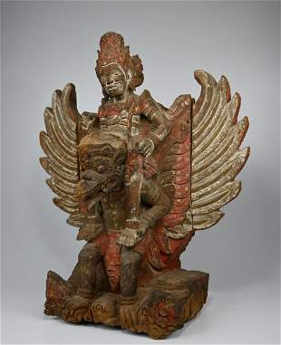 19th Century Vishnu On Garuda Wood Sculpture from Bali