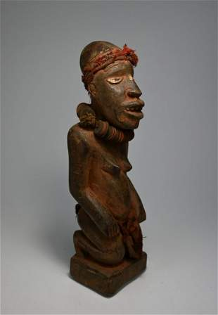 Rare Bakongo Female sculpture Ex Leonard Kahan Gallery
