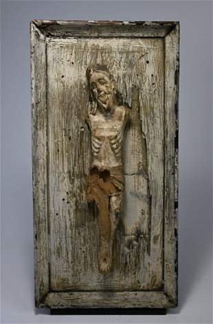 Antique Christ Figure mounted to wood panel
