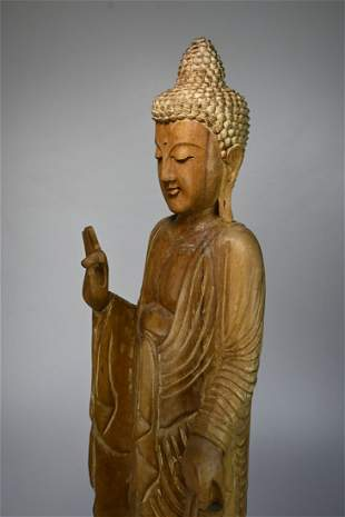 Tall carved wooden Standing Buddha Sculpture