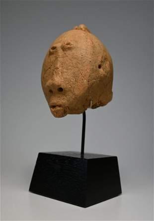 A Rare Ancient Bura Culture Clay Head Fragment 1000 AD