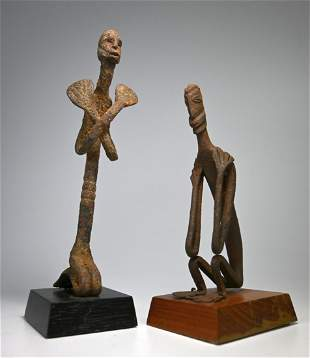 Pair of Old Dogon Iron Nommo Cult Figures, Ex Dr Healy