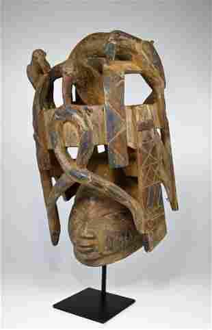 Elaborate Yoruba Gelede African Mask