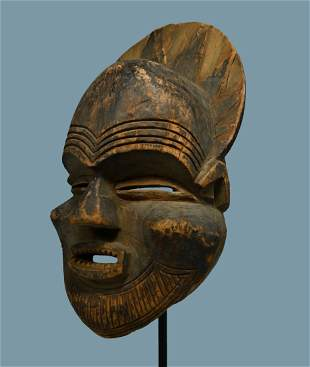A Rare Old Luchazi African Mask Field collected 1959