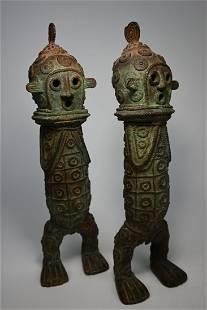 A Stylized Mambila Couple in Bronze , African Art