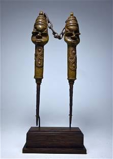A Fine Old pair of Edan Ogboni Bronzes