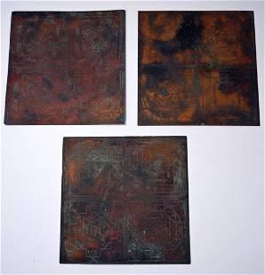 Rare Copper Engraved Sri Yantra Magic Symbols Ex Museum