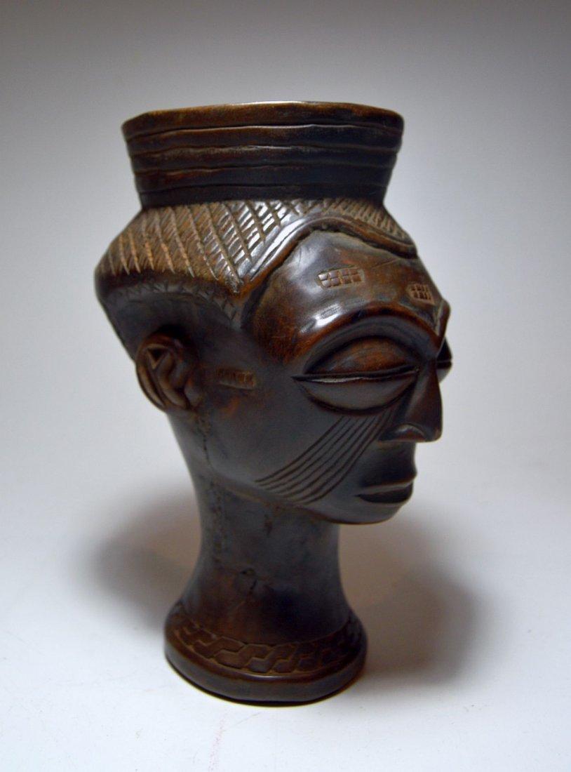 A Fine Kuba Palm wine cup w/ ancestor face, African Art - 2