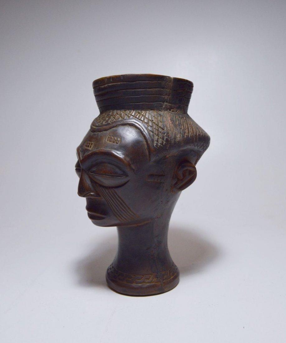 A Fine Kuba Palm wine cup w/ ancestor face, African Art - 3