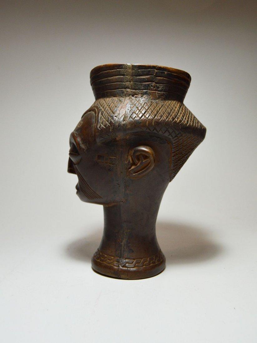 A Fine Kuba Palm wine cup w/ ancestor face, African Art - 4