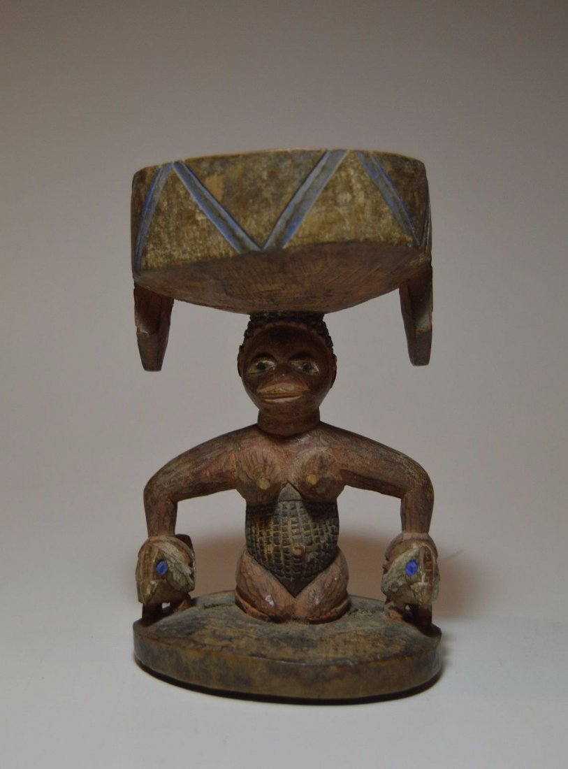 Old Yoruba Agere Ifa Divination dish, African Tribal Ar - 4