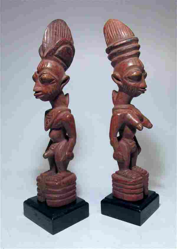 Rare pair of Yoruba Ere Ibjei twin idols, African Art