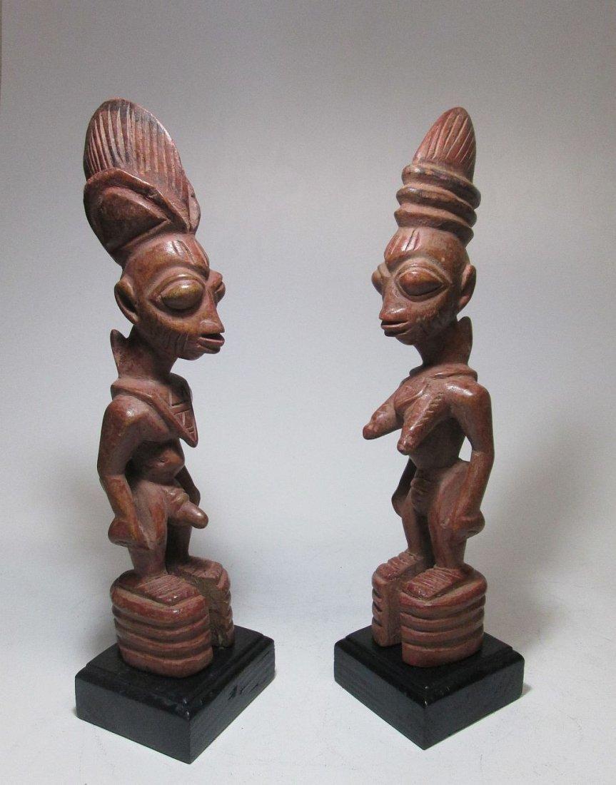Rare pair of Yoruba Ere Ibjei twin idols, African Art - 3