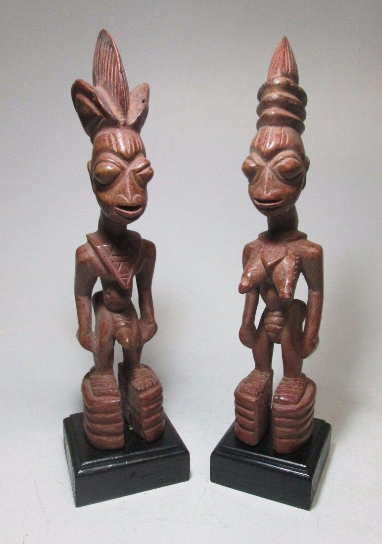 Rare pair of Yoruba Ere Ibjei twin idols, African Art - 4