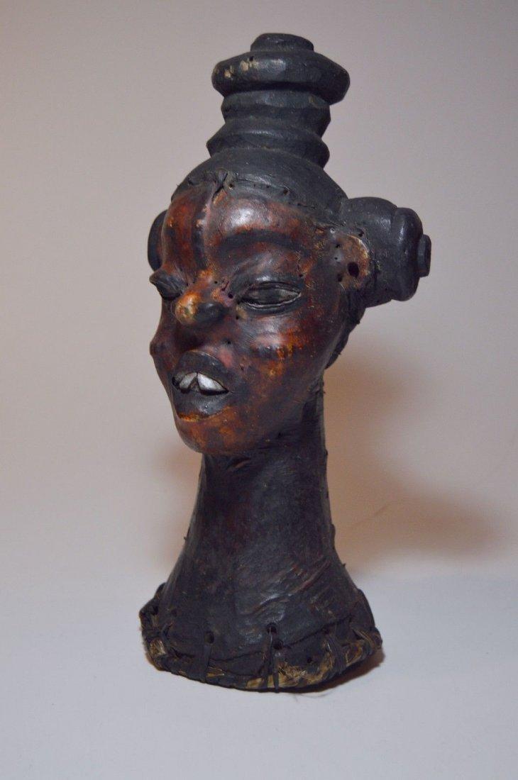Rare Ekoi Skin Covered Headdress, African Tribal Art