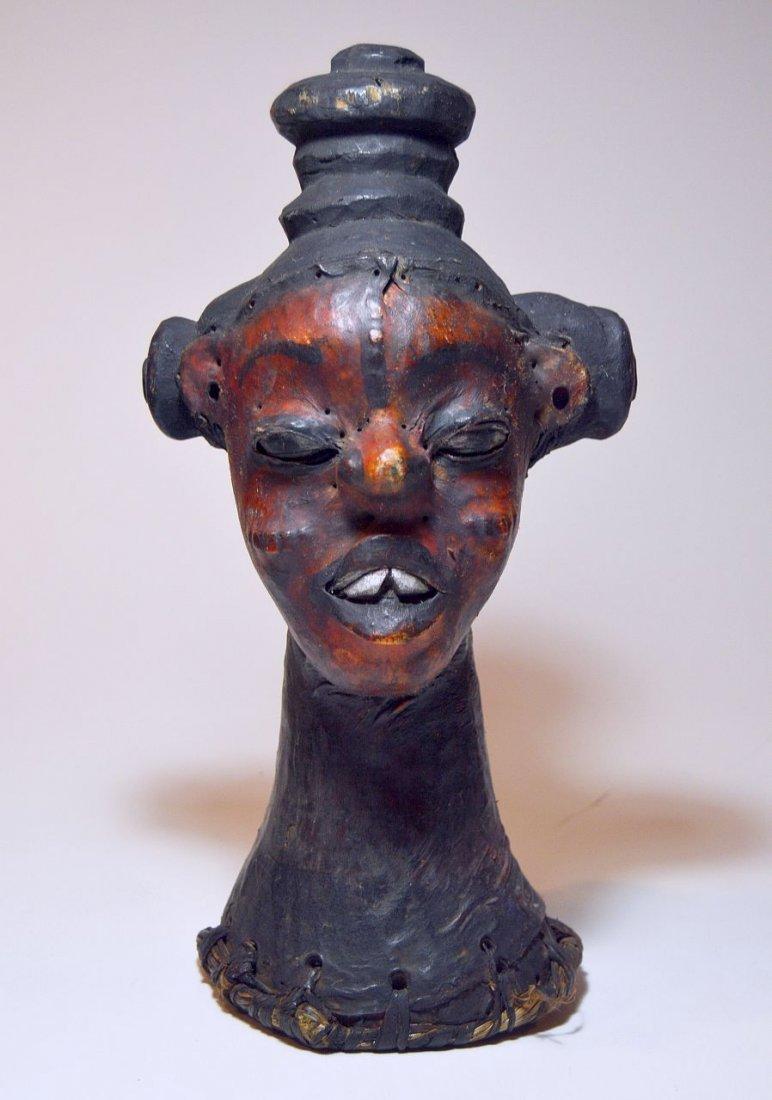 Rare Ekoi Skin Covered Headdress, African Tribal Art - 2